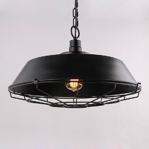 Hines Industrielle Vintage Style Eisen Lampenschirm Käfig Verstellbare Große Pendelleuchte Loft Metall Fan Leuchte Restaurant Bar Beleuchtung Deckenleuchte, Schwarz (Größe: 22 * 36 cm)