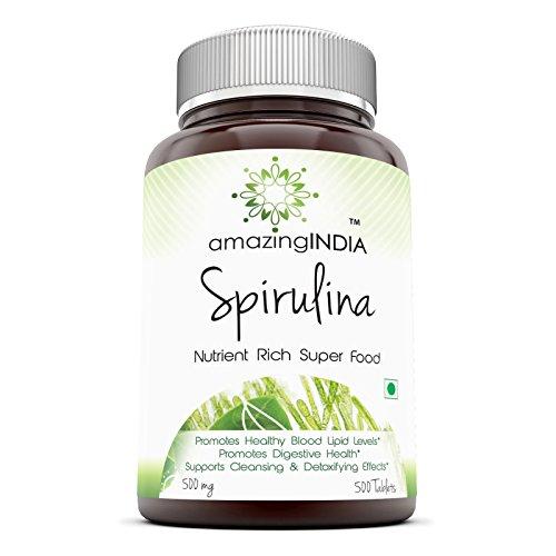 Amazing India Spirulina – 500 mg 500 Tablets (Non-GMO) - Supports Cell Regeneration, Immune Health, Detoxification & Overall Health