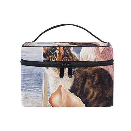 Bolsa de maquillaje con cremallera Bolsa de cosméticos Embrague Gato en el...