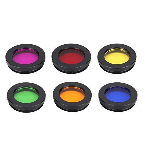 1,25-Zoll-Teleskop-Mondfilter, 6 Farbfilter (Rot, Lila, Orange, Gelb, Grün, Blau), optisches Glas des Teleskoplinsenfilters