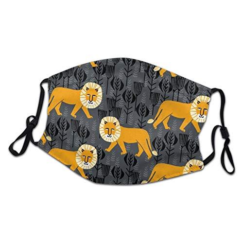 DearLord Wiederverwendbare Stoff-Gesichtsmaske, Safari-Löwe, Kurkuma, waschbar, atmungsaktiv, verstellbar, für Jungen und Mädchen