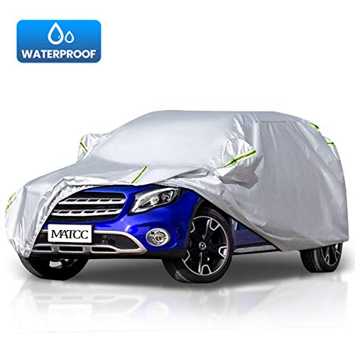 MATCC Funda para Coche Exterior del Coche Impermeable Cubierta Coche 210T Resistente al Polvo Lluvia Rasguño y Nieve para SUV(485*190*185cm)