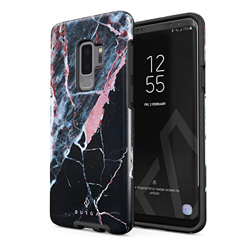 BURGA Phone Case Compatible with Samsung Galaxy S9 Plus - Hidden Beauty Light Pink Peach and Black Marble Cute Case for Woman Heavy Duty Shockproof Dual Layer Hard Shell + Silicone Protective Cover