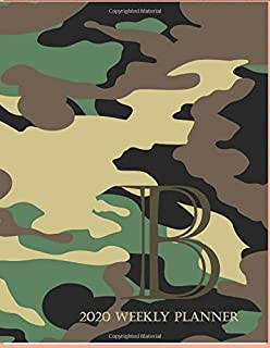 """2020 Weekly Planner B: This camouflage multi-Color Monogrammed """"B"""", 8.5"""" x 11"""" one page monthly, two page weekly with holi..."""