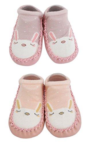 LCH 2 Paar Baby Jungen Mädchen Hausschuhe Anti-Rutsch-Schuhe Socken Bunny Cat Bear (Rosa + Pfirsich, 12-18M)