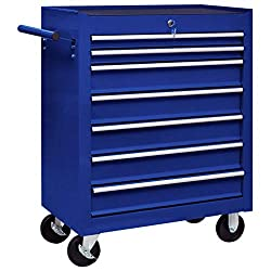 Use this handy workshop tool trolley with 7 sliding drawers to store and organise your tools. Each drawer has an anti-slip bottom lining to keep your tools in place Thanks to the integrated lock, all drawers can be locked at once, which prevents them...