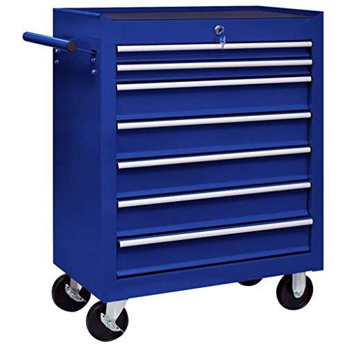 vidaXL Werkstattwagen mit 7 Ausziehbaren Schubladen Abschließbar Kratzfeste Oberfläche Werkzeugwagen Werkzeug Rollwagen Werkzeugkiste Blau