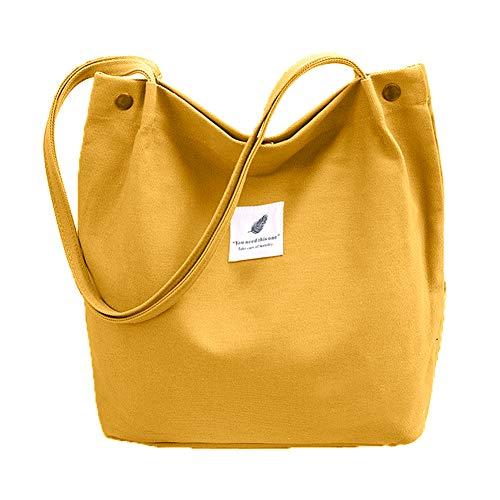 Bolsa de algodón, Bolsa de Compra Canva, Bolsos de hombro Durable, Bolsa de Transporte con Bolsillo Interior y Cremallera ,Bolsa de Playa Casual Chic Tote Bag Ideal para Uso Diario y Viajes (amarillo)