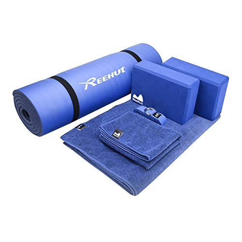 "REEHUT Yoga Set 6-Piece - Includes 1/2"" Thick NBR Yoga Mat with Carrying Strap, 2 Yoga Blocks, 1 Yoga Mat Towel, 1 Yoga Hand Towel & 1 Yoga Strap (Blue)"