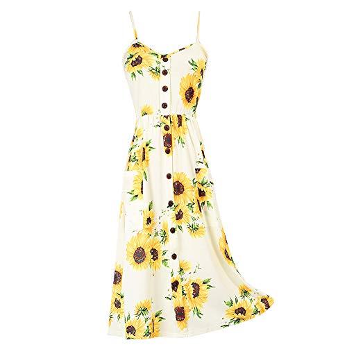 Nobrand Lose Plus Size bedrucktes Strapskleid Sexy V-Ausschnitt Strand Urlaub Midi Rock Gr. 48, 1
