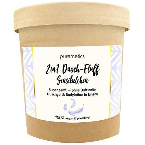 """Puremetics Zero Waste 2in1 Dusch-Fluff """"Sensibelchen"""" (150g)   Duschgel und Lotion in Einem   100% vegan & plastikfrei   pflegend & feuchtigkeitsspendend   sensible Haut   sensitiv"""