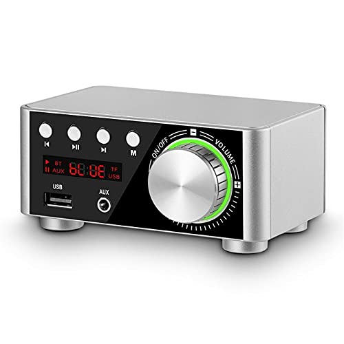 Argerrant 1 UNID 50WX2 Bluetooth 5.0 Amplificador de Potencia Tablero TPA3116 Receptor Estéreo Home Car Audio AMP USB U-Disk TF Music Card Player (Color : Plata)