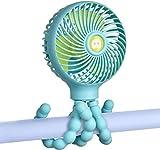 YoLin Kinderwagen USB Ventilator, Tragbares Mini Handheld Baby Ventilator das auf Autositz/Studentenbett/Fahrrad Aufgewickelt Werden Kann USB und Batteriebetriebener Schreibtisch Ventilator (Blau)