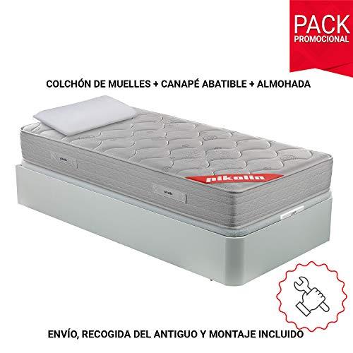 PIKOLIN Pack Colchón viscoelástico de muelles 90x190 + canapé con Base abatible Blanca y Almohada de Fibra