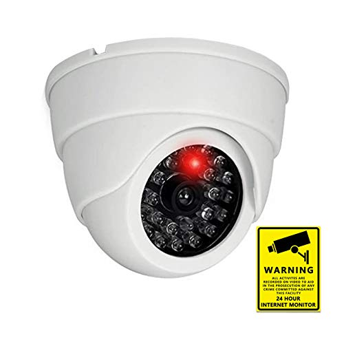 1pc Dummy Fake Security Camera Fake Surveillance Cameras Simulated CCTV Dome Security Video Camera Indoor Outdoor with Flashing Red Light & Home Security Sign for Home,Business,Office,Shop (1pc)