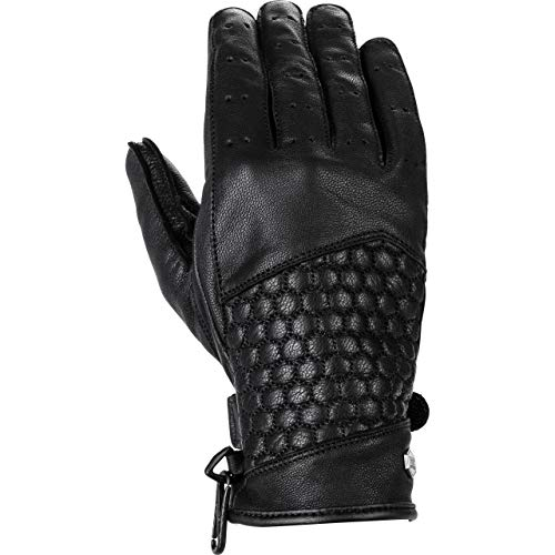 Spirit Motors Guantes largos para moto para mujer, clásicos, guantes de piel 1.1, estilo de vida, para todo el año Negro M