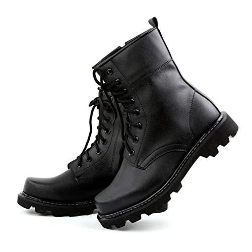 MWbetsy Unisex Militärstiefel Leder verdicken Outdoor Training Kampf-Stiefel Herren-Armee Tactical Large Size Martin Stiefel Winter warm Hoch-Spitze Schuhe,Schwarz,42