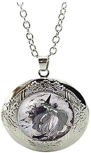 Fairytale Witch Locket Necklace Witch Jewelry Halloween Witch Art Picture Jewelry