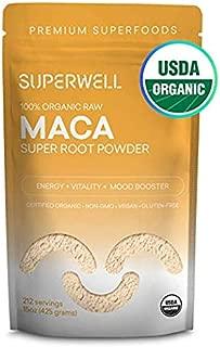 SUPERWELL Maca Powder (15 Oz / 212 Servings)   Maca Root Powder 100% USDA Organic   Raw   All Natural   Premium Superfood   Adaptogenic Herb Improves Health, Mood, Energy, Stamina & Balances Hormones