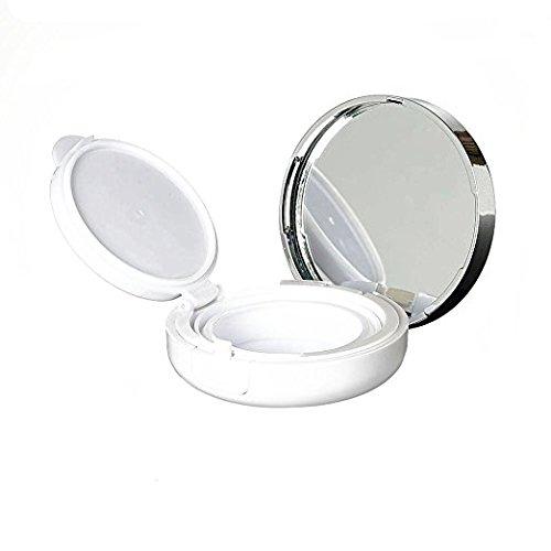 Onwon 15g 0.5oz Empty Luxurious White Silver Edge Portable Air Cushion Puff Box BB Cream Container Dressing Case Powder Box with Air Cushion Sponge Powder Puff and Mirror