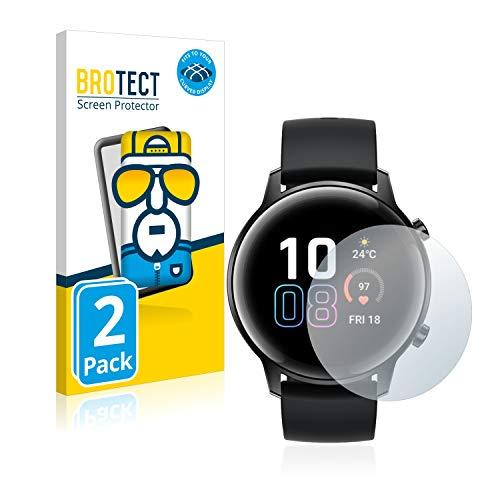 BROTECT Full-Cover Schutzfolie kompatibel mit Honor Watch Magic 2 (42 mm) (2 Stück) - Full-Screen Bildschirmschutz-Folie, 3D Curved, Kristall-Klar