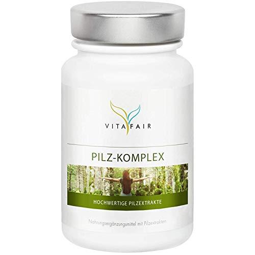Pilz Komplex - 1190 mg pro Tagesdosis - 120 Kapseln - 23,5% bioaktive Polysaccharide - 7 hochwertige Pilzextrakte - Vegan - Ohne Magnesiumstearat - German Quality