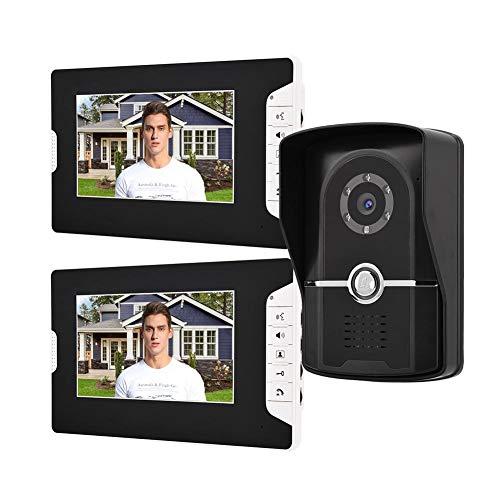Pokerty Videoportero, 7 Pulgadas TFT LCD Videoportero con Cable Intercomunicador con Cable Kit de Timbre Desbloqueo Remoto Sistema de Ingreso a casa con 16 Tipos de música(Enchufe de EE.UU.)