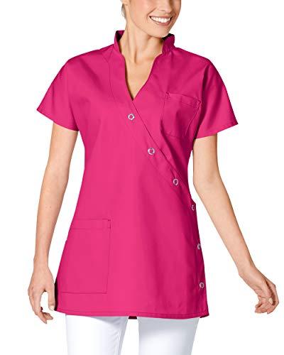 CLINIC DRESS Kasack Damenkasack für Krankenpflege und Altenpflege mit Brusttasche Mischgewebe 95° Wäsche pink 38