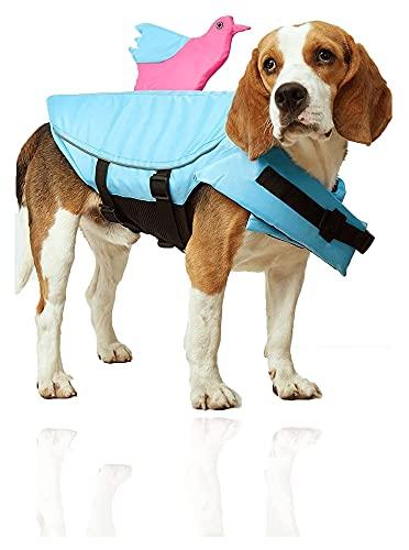 M3 Decorium Chalecos de Vida de Perros con Relleno Extra Chaleco de Seguridad para Mascotas para Perros Lifesaver Freserver para la Seguridad del Agua Pet Pet Vestido (Color : Blue, Size : S)