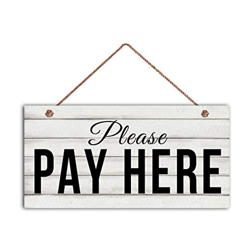 MAIYUAN Please Pay HERE Sign Restaurant Sign Rustic Decor, 6' x 12' Sign Cafe or Diner Sign Store or Boutique Sign