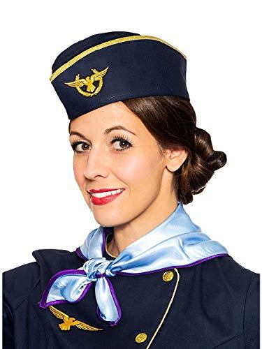 Maskworld Stewardess Hut mit Flieger Emblem und goldenen Säumen perfekt für Fasching Karneval Halloween & Mottopartys - Stewardess Verkleidung Uniform