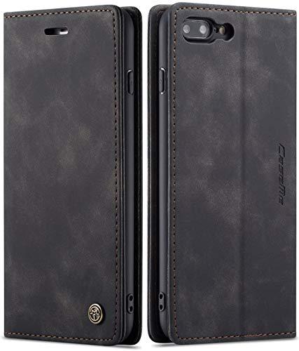 SINIANL Schutzhülle für iPhone 8 Plus / iPhone 7 Plus, Lederhülle, mit Ständer, Kreditkartenhalter, Magnetverschluss, Klappschutzhülle für iPhone 7 Plus, iPhone 8 Plus, Schwarz