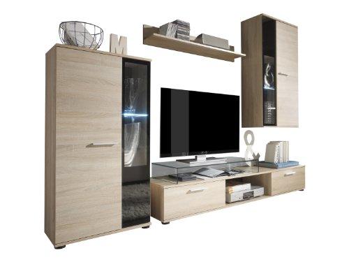 trendteam smart living Wohnzimmer Anbauwand Wohnwand Salsa, 241 x 180 x 40 cm in Eiche Sägerau Hell (Nb.) mit LED Glasbodenbeleuchtung in Warm Weiß