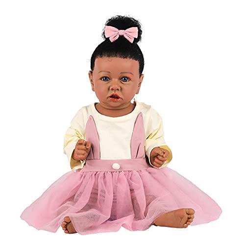 Muñecas Renacidas Muñeca de Niña Negra con Peso Realista Accesorios de Juguete de 22 Pulgadas Mejor Juego de Cumpleaños para Niñas de 3 Años,D
