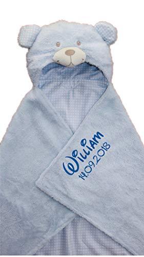 Kapuzendecke/Kapuzentuch mit Name u. Geburtsdatum bestickt/Kapuzen Decke aus Termofrotte - kuschelig warm / 75 x 100 (Hellblau)