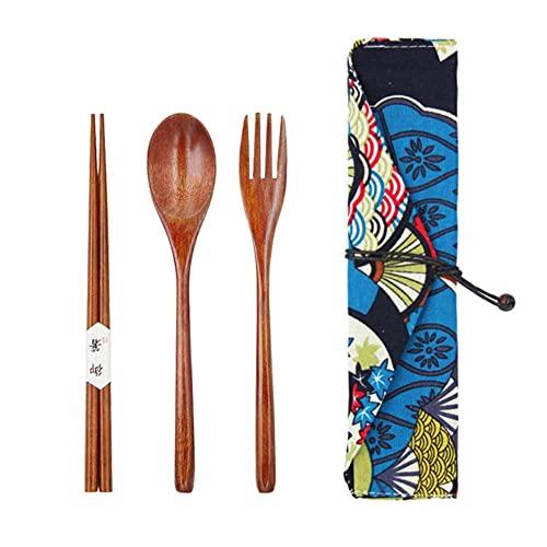 Vajilla de madera portátil Juegos de cubiertos de madera Vajilla de viaje Traje Ambiental con paquete de tela Regalos set-bag 5 whitoutline