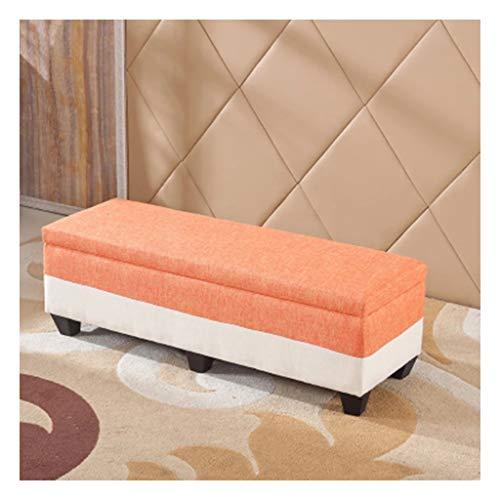ZXCVBNM Caja De Almacenamiento Taburete De Cama De Dormitorio, Baúl Puff Taburete for Almacenaje Plegable Carga Baúl Puff (Color : Orange+White, Size : 80cm)