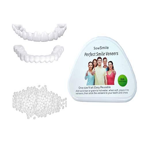 WTTFC 5 Paires Fausses Dents Dentier Sourire Parfait Haut Et Bas Dentier Esthetique Amovible Instant Smile Comfort Kit Faux Dent Accolades De Simulation