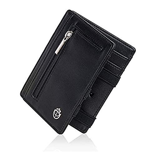 Noah Noir Magic Wallet mit Münzfach - TÜV Geprüfter RFID Schutz (8 Kartenfächer) Magischer Geldbeutel mit Geschenkbox Schwarz(Bat)