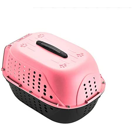 Pets Empire Pet Travel Carrier Dog Cat Rabbit Basket Plastic Handle Hinged Door Folding Collapsible Transport Box Crate Cage for Puppy Cats, Dimensions : 48 x 32 x 30 cm- Pink