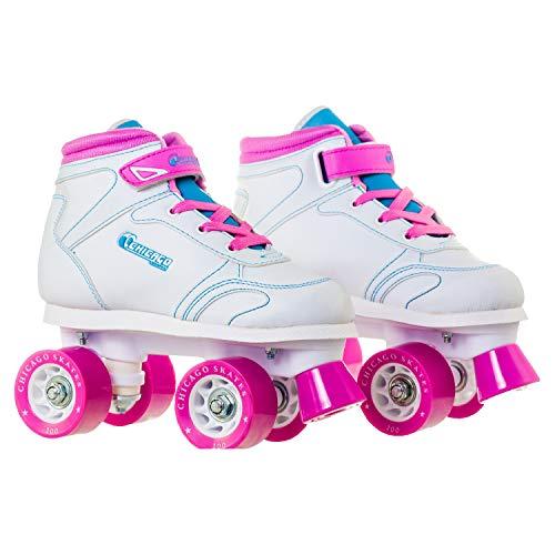 Chicago Girls Sidewalk Roller Skate - White Youth Quad Skates - Size J13