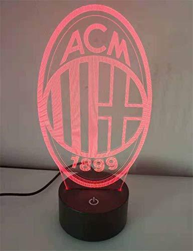 Lampe à économie d'énergie 3D AC Milan Night Light/LED, 7 couleurs, Lampe de chevet, Base noire, Toucher/Télécommande, Chambre à coucher, Décoration de bar