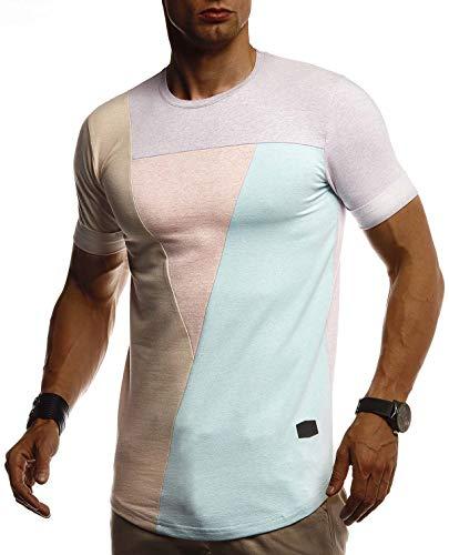 Leif Nelson Herren Sommer T-Shirt Rundhals Ausschnitt Slim Fit Baumwolle-Anteil Cooles Basic Männer T-Shirt Crew Neck Jungen Kurzarmshirt O-Neck Kurzarm LN8322 Purple Large