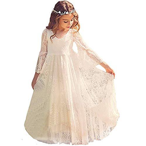 CQDY Mädchen Prinzessin Kleid Spitzen Blumenmädchen Kleid Festkleid,6-7 Jahre,  Elfenbein