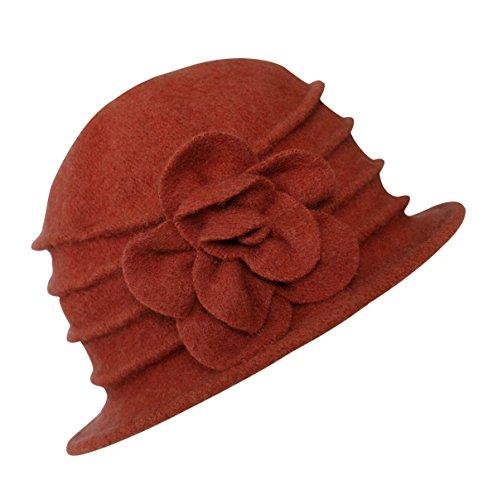 Urban GoCo Lana Cloche Sombreros Gorras para Mujer Vintage Floral Trimmed Sombreros de Invierno (#2 Naranja)