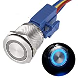 APIELE 22mm Momentary Push Button Switch 12V Angel Eye LED Waterproof Stainless Steel Round Metal Self-Reset 7/8'' 1NO 1NC with Pigtail (Blue)