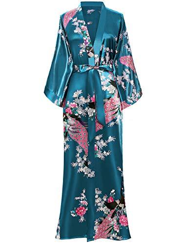 BABEYOND Kimono de Seda Vestido de Satén Kimono Pavo Real Novia Pijamas de Seda Bata de Satén (Turquesa)