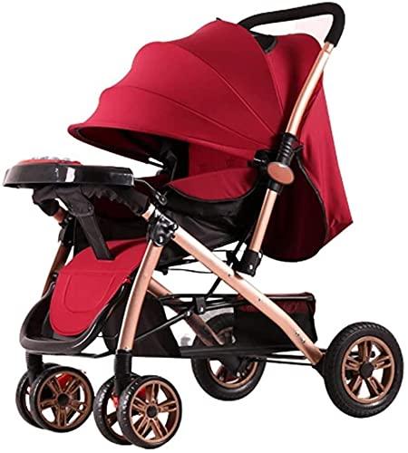 Cochecito de viaje de cochecito para bebés para recién nacido Sistema de viaje de cochecito de bebé plegable liviano, con arnés de 5 puntos, desde el nacimiento hasta los 36 meses (Color : Red)