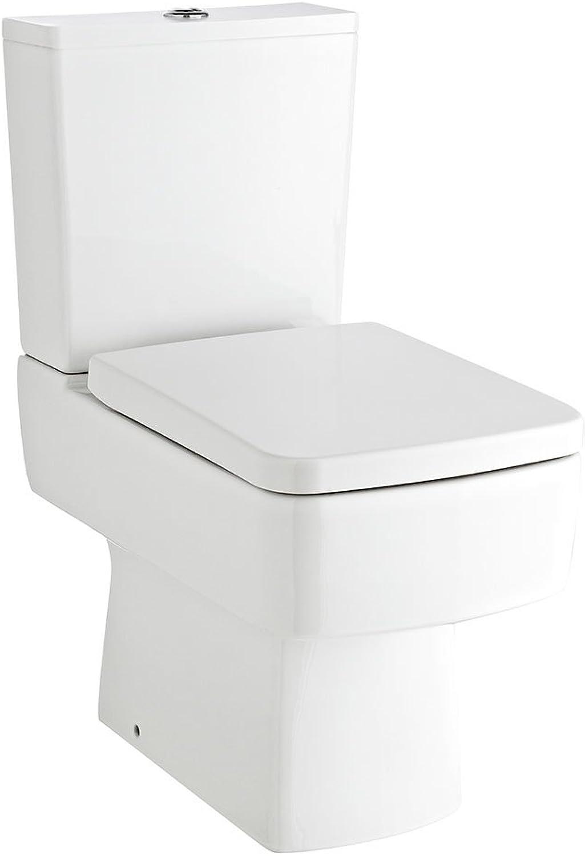 Ultra Square Close Coupled Toilet, Push Button Cistern, Soft Close Seat