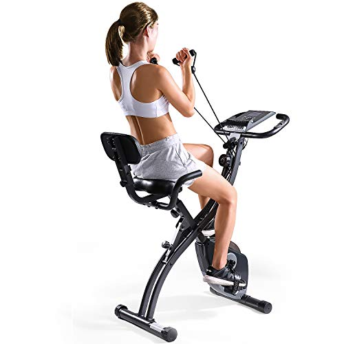 MaxKare Folding Magnetic Upright Exercise Bike w/Pulse Sensor/LCD Monitor Indoor Cycling...